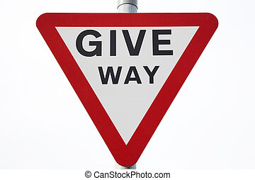 Give Way Sign on White Background