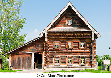 Two-storey wooden house of a wealthy farmer. Suzdal. Russia.