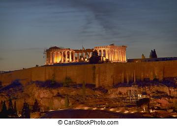 Parthenon illuminated, Acropolis of Athens, Greece