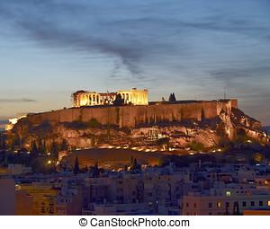 Acropole, éclairé, Athènes,...