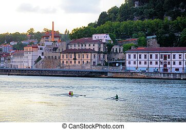 Kayaks in the river Douro in the evening near the city of...