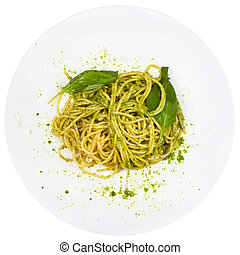 top view spaghetti mixed with pesto