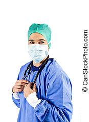Female cardiac surgeon with Stethoscope