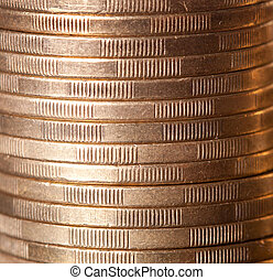 gold coin stack close up