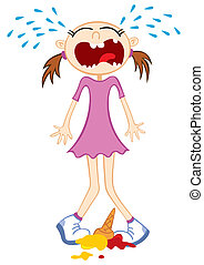 Sad childhood - Girl crying girl after drop ice cream