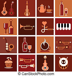 Music cafe - vector illustration - Music cafe Abstract...