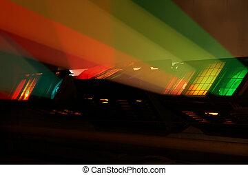 Colour spotlights illumination on scene