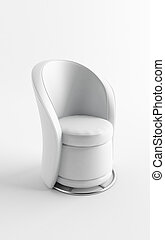 single leather armchair on a white background