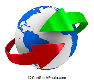 Globe and arrows on white background. Isolated 3D image