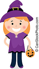 Cute halloween witch girl isolated on white - Little...