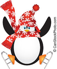 Penguin with Santa Hat Ice Skating Illustration - Christmas...