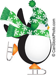 Penguin with Green Hat Ice Skating Illustration - Christmas...