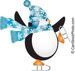 Penguin with Blue Hat Ice Skating Illustration - Christmas...