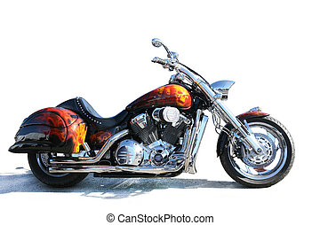 Beautiful black motorcycle on white background
