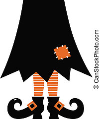 Retro Halloween Witch isolated on white - Halloween's witch....