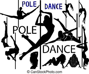 set of black silhouettes of dancing girls striptease