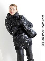 retrato, posición, mujer, Llevando, negro, ropa,...