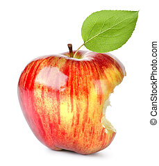 Bite on a red Apple - Red apple eaten with a bite, isolated...