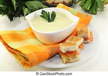 Cream of celery soup - a bowl of Cream of celery soup with...
