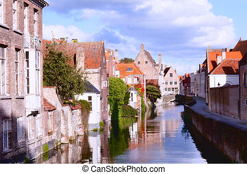Classic view of channels of Bruges Belgium Medieval...