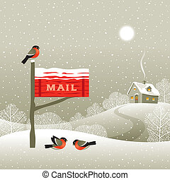 Mailbox on the forest edge - Winter landscape with red...
