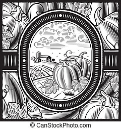 Pumpkin harvest black and white - Retro pumpkin harvest in...