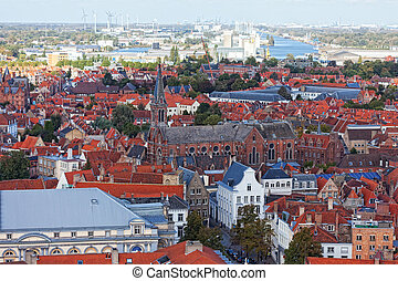 Classic view of Bruges. Belgium. Medieval fairytale city....