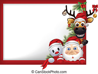santa claus ,deer and snowman - cartoon santa claus ,deer...