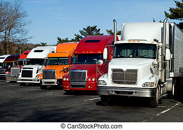 Truck rest area - Truck trailers on rest area along american...