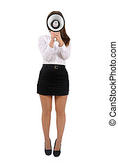 Isolated business woman - Isolated young business woman with...