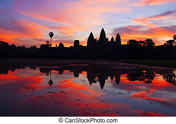 Angkor Wat sunrise - Beautiful sunrise at Angkor Wat,...