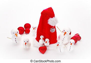 snowmen - many funny selfmade snowmen isolated on white...