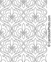 Lilies pattern - Black and white seamless pattern of french...