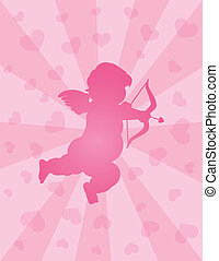 Valentines Day Cupid with Bow and Arrow - Valentines Day...