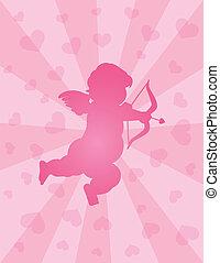 Valentines, día, cupido, arco, flecha