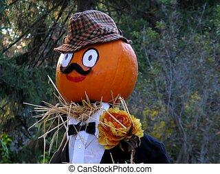 gentleman pumpkin head - a dapper gentleman pumpkin head