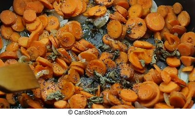 cooking carrots in frying pan