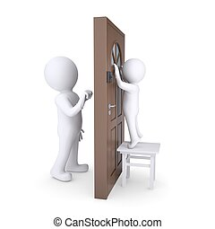 Uninvited guest knocks on the door, the child looks out the...