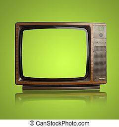 vintage tv isolated on a white background - vintage tv