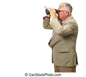 Senior Man Looking Through Binoculars On White Background