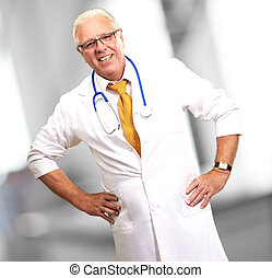 Happy Senior Doctor With Stethoscope, Indoor
