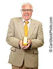 Senior Man Holding Gold Bar On White Background