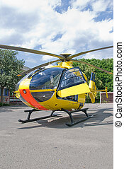 Rescue helicopter - A rescue helicopter landed in a school...