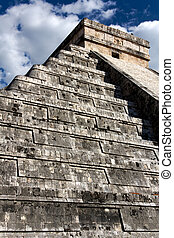 View up Kukulkan Pyramid - Angled view up El Castillo, the...