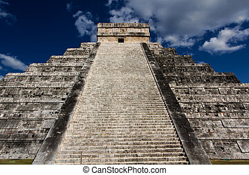 Stairs of Kukulkan Pyramid at Chichen Itza - View up the...