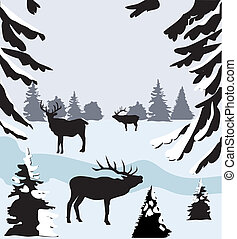 deer in the woods - vector deer in the woods