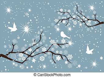 snow branches - vector snow branches with birds