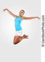 fitness woman jumping excited