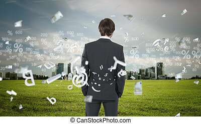Business person with digital symbols - Image of business...