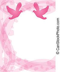 Pair of Doves on Swirl Border - Wedding Pair of Doves...